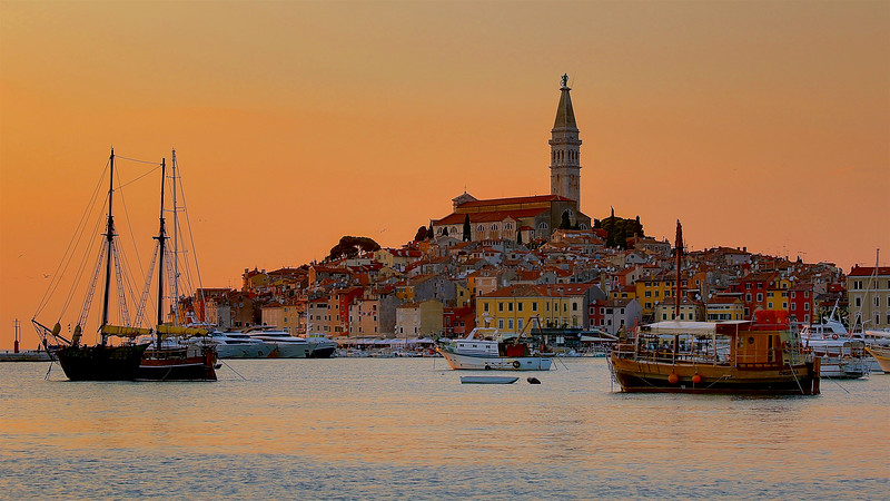 The Old Town of Rovinj is a delightful web of steep cobble-stone streets that lead up to the Church of St. Euphemia