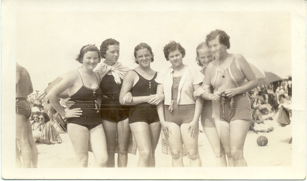 "1937, July 20: Nan Brennan, Helen Keeney O'Toole, Rere (Marie) Keeney, Margaret ""Tiny"" Brennan, Mary Kelly, Kate Brennan.  Riis Park."