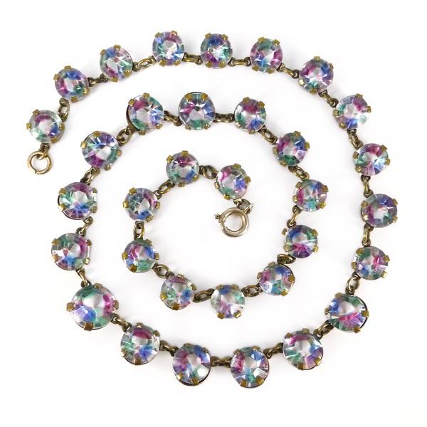 Vintage Art Deco Iris Rainbow Glass Chain Necklace