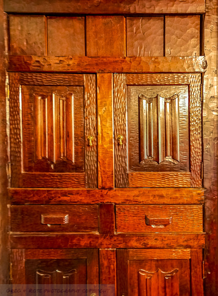 Rough Hewn and Catved Cupboard and draw unit