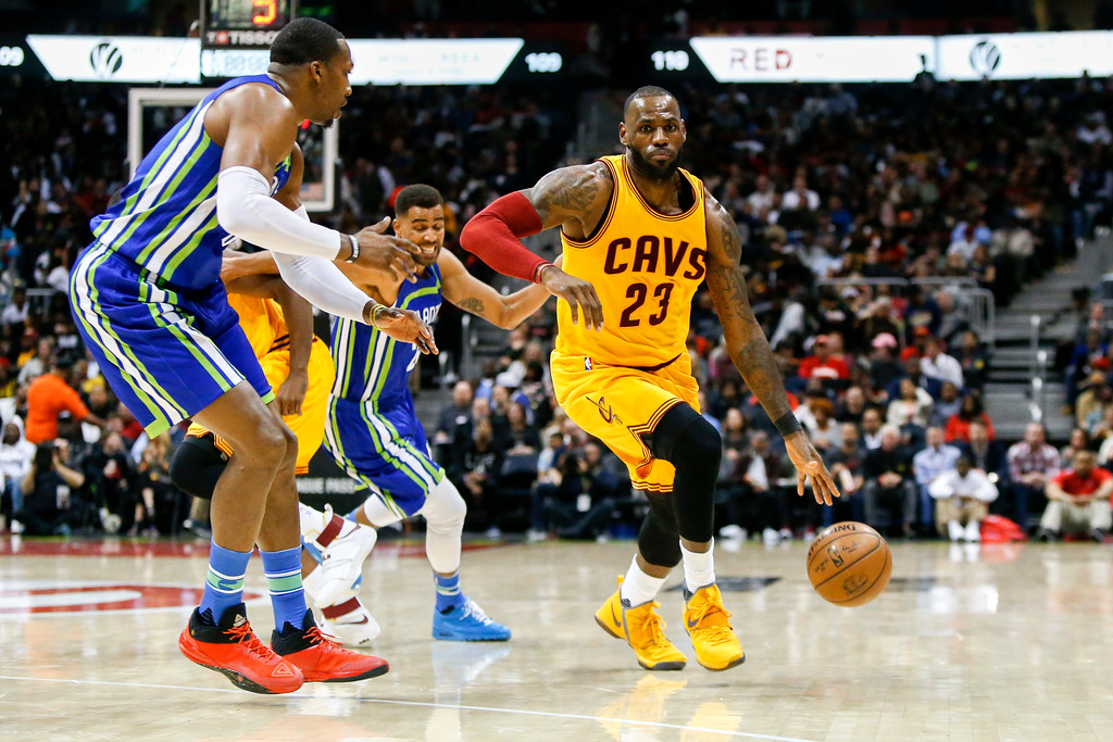 . Cleveland Cavaliers forward LeBron James (23) drives against the Atlanta Hawks in the second half of an NBA basketball game, Friday, March 3, 2017, in Atlanta. The Cavaliers won 135-130. (AP Photo/Brett Davis)