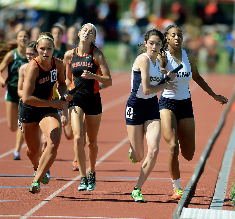 . Maribeth Joeright/MJoeright@News-Herald.com <p> The Beaumont girls 4X400 meter relay team runs a close race and takes second to qualify for the finals in the event during the state championship meet in Columbus,  June 6, 2014.