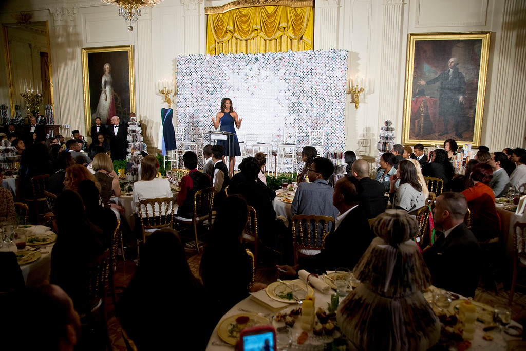 . First lady Michelle Obama speaks to participants of the Fashion Education Workshop, Wednesday, Oct. 8, 2014, in the East Room of the White House in Washington.   (AP Photo/Manuel Balce Ceneta)