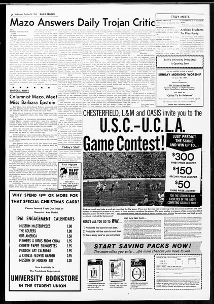 Daily Trojan, Vol. 52, No. 28, October 26, 1960