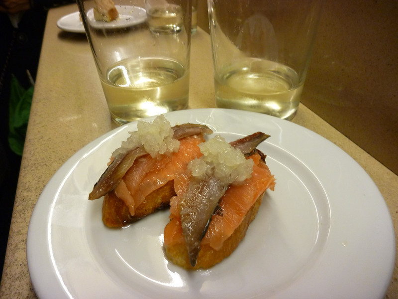 Next up a crowded bar with more traditional pintxos and txakoli, delicious sparkling dry white wine *Bar Martinez