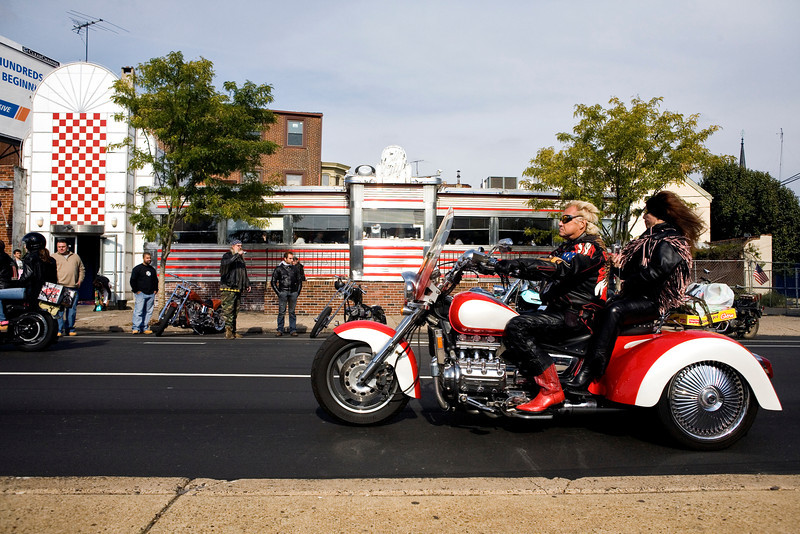 Couple on Motorcycle at Silk City Diner