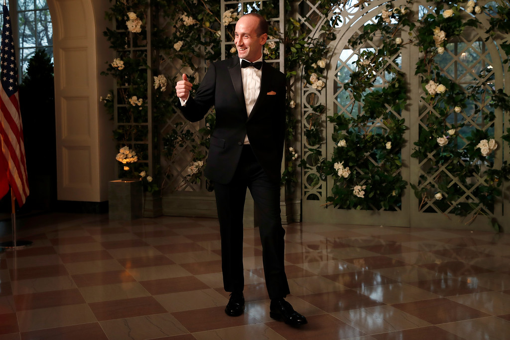 . Stephen Miller, White House senior adviser arrives for a State Dinner with French President Emmanuel Macron and President Donald Trump at the White House, Tuesday, April 24, 2018, in Washington. (AP Photo/Alex Brandon)