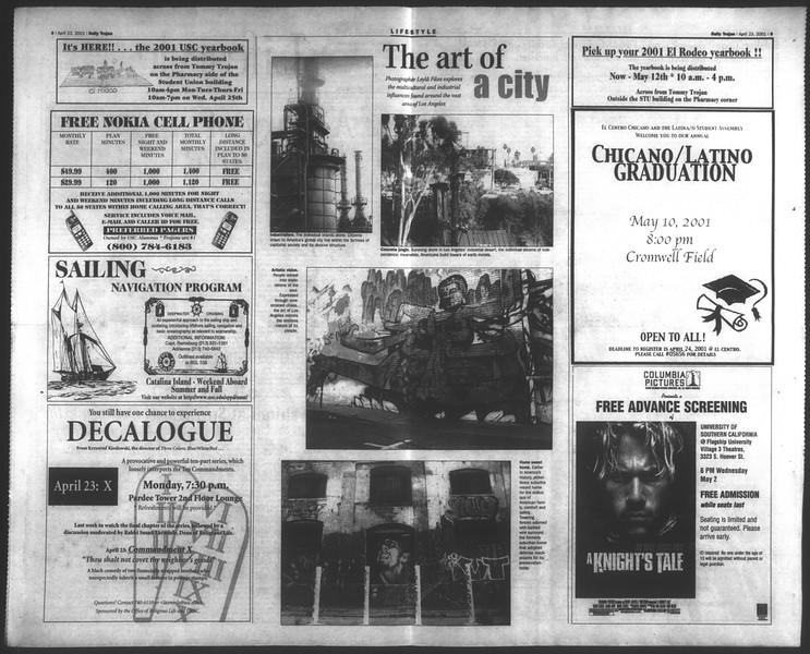 Daily Trojan, Vol. 142, No. 64, April 23, 2001