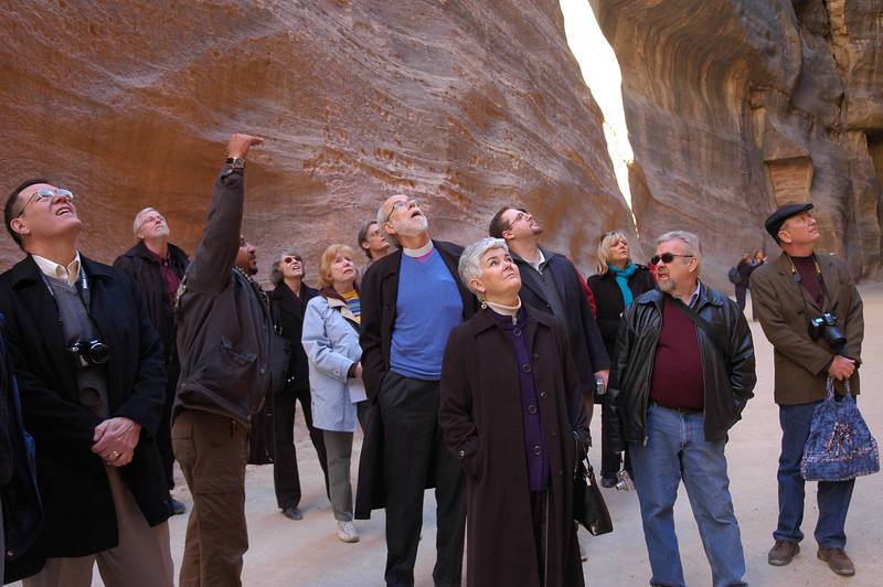 The ELCA group view outstanding scenery during a Jan. 4 tour at Petra, Jordan, a well-known historic archeological site.