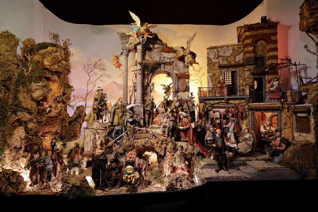 ". A Neapolitan 16th century style nativity scene is displayed at the ""100 Presepi\"", 100 nativity scenes exhibition, in Rome, Thursday, Nov. 23, 2017. The exhibition, consisting in 152 nativity scenes from all Italian regions and 40 other countries, will be visible over the Christmas festivities. (AP Photo/Andrew Medichini)"
