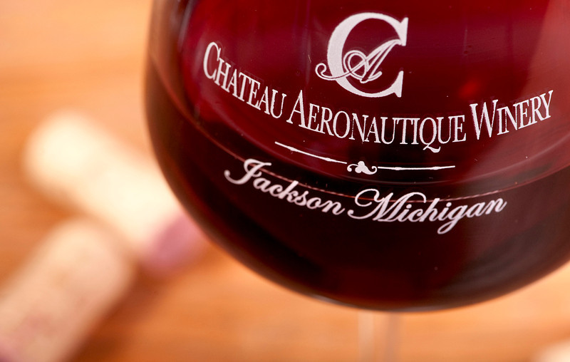 A red wine at the Chateau Aeronautique Winery in Jackson, MI on May 4, 2013.  Tasters get to keep their wine glasses.  (Photo by Mark Bialek)