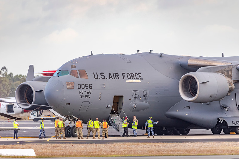 United States Air Force C17A Globemaster III 80056 at Rockhampton Airport during Talisman Saber, 06-07-2019