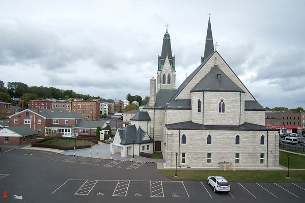 10/17/19 Wesley Bunnell | StaffrrA view of the rear of Sacred Heart Church from Sacred Heart School on Thursday October 17, 2019.