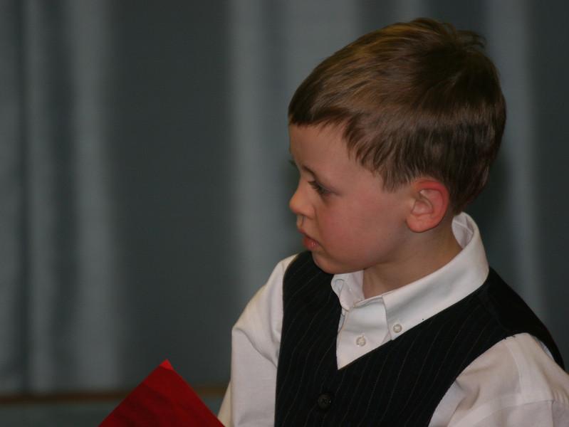 Aaron in his school's Christmas Program