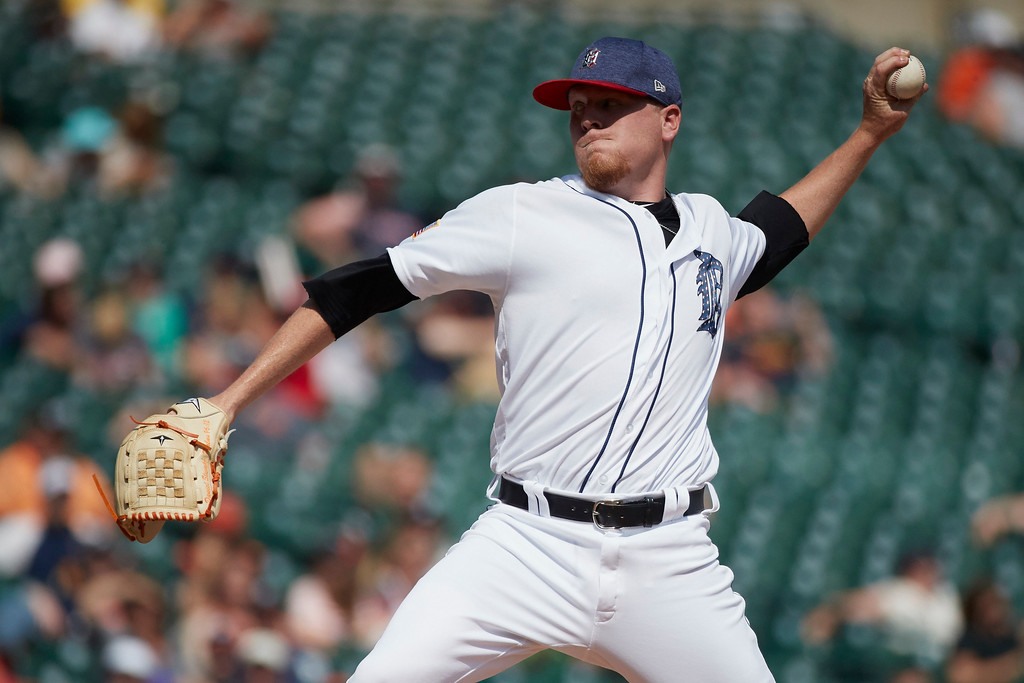 . Detroit Tigers relief pitcher Daniel Stumpf pitches against the Cleveland Indians during the eighth inning of a baseball game in Detroit, Sunday, July 2, 2017. (AP Photo/Rick Osentoski)