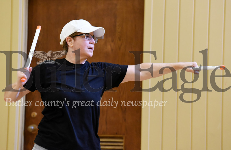 Harold Aughton/Butler Eagle: Melanie Stoddart of Mars works out at the Woodland Valley Church in Mars.
