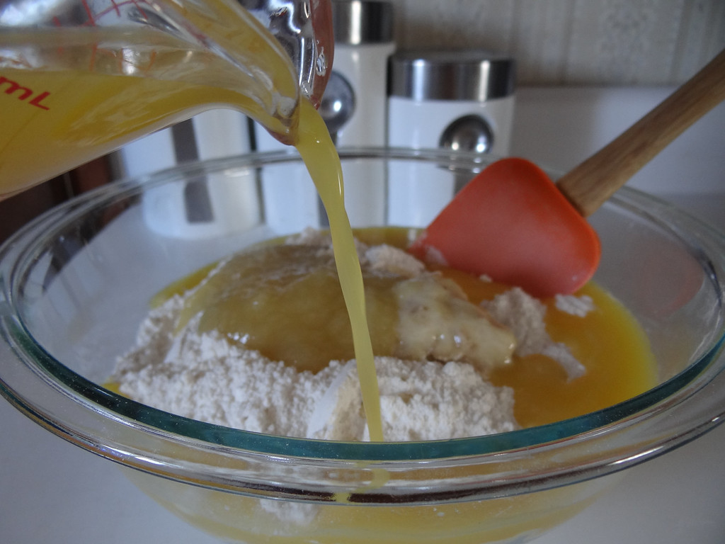 . Begin adding Florida 100 percent orange juice to your mixture.