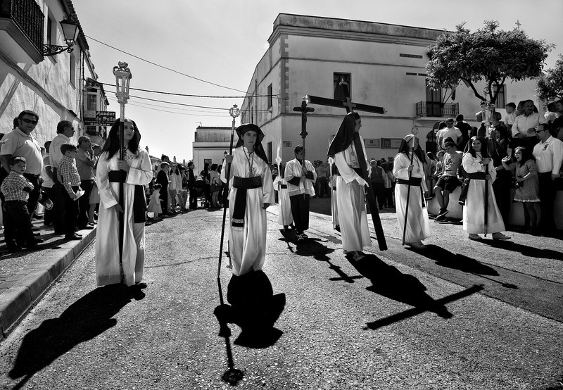 Penitentes marching during the Easter celebrations.  Arcos de la Frontera, Andalucia, Spain, 2014