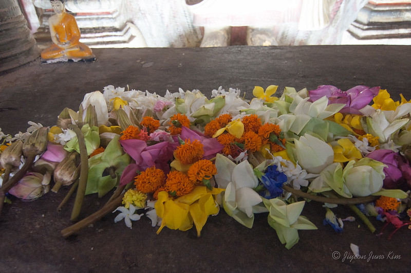 Dambulla Cave Temple - pay the respect with flower