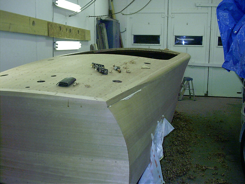 Rear view of starboard cover board being shapped.
