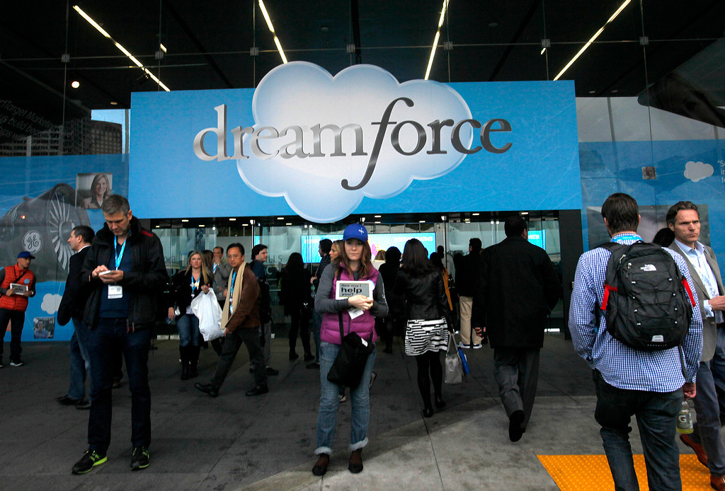 . Participants enter Moscone South during the Dreamforce Conference, the Salesforce annual conference, in San Francisco on Wednesday, Nov. 20, 2013.  (Nhat V. Meyer/Bay Area News Group)