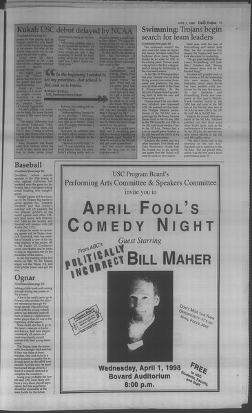 Daily Trojan, Vol. 133, No. 49, April 01, 1998