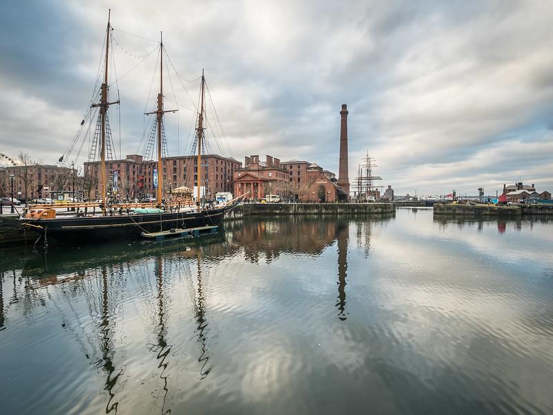 Ship Masts and Smoke Stacks, Liverpool, England