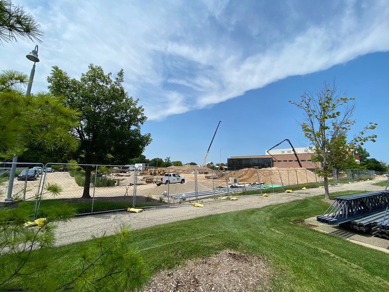 Construction progress for the School of Business next to the DeVos Communication Center on the east side of Calvin University's campus in July of 2021.