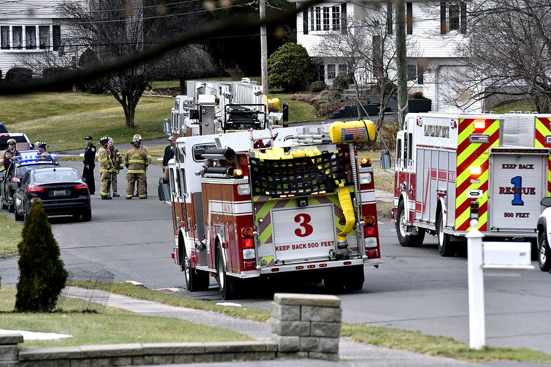 1/31/2020 Mike Orazzi   Staff Plainville firefighters on scene after a power surge caused electrical problems in several home in the Pequot Road section on Friday afternoon.