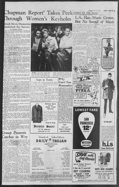 Daily Trojan, Vol. 54, No. 19, October 18, 1962