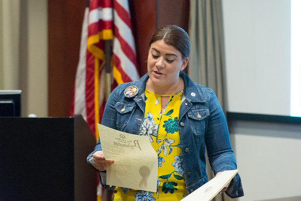04/08/19 Wesley Bunnell | Staff Mayor Erin Stewart reads a proclamation from the City of New Britain in honor of National Crime Victim's Rights Week which is taking place this week.