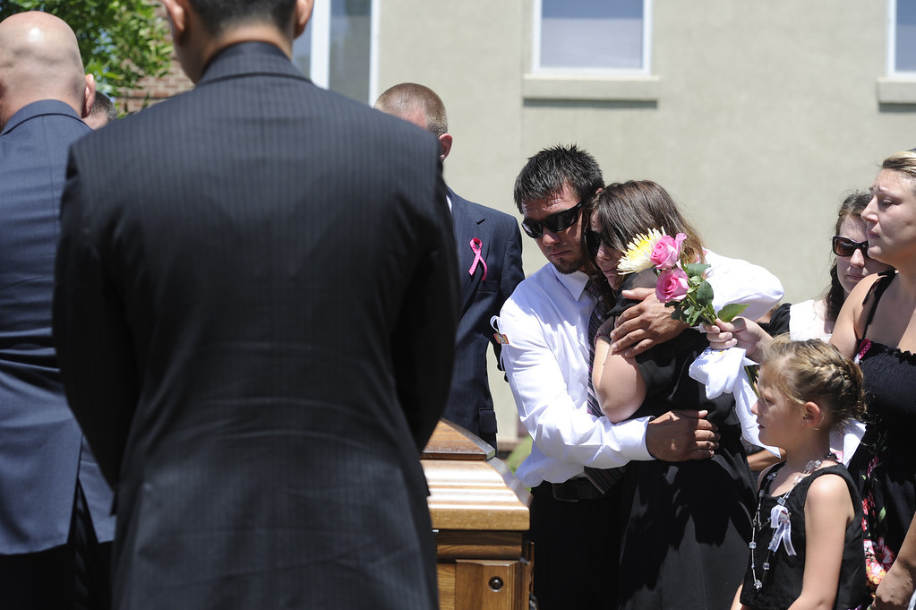. Amanda Medek, sister of Micayla Medek, cries during her funeral services on Thursday, July 26, 2012 at New Hope Baptist Church. Medek was one of the victims of the Theater shooting in Aurora. Kathryn Scott Osler, The Denver Post