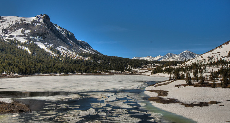 A partially frozen lake by Tioga Pass (Altitude:9,950ft above msl, Yosemite, California)