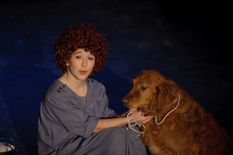 """Astute viewers will notice that the pail moved between this shot and the previous. Many things change between rehearsal and performance, and here you've got the added randomness of a live animal. It helps that Rusty epitomizes the lovely temperament of Goldens, and by being himself (""""rub my belly now!"""") he nearly stole a few scenes."""