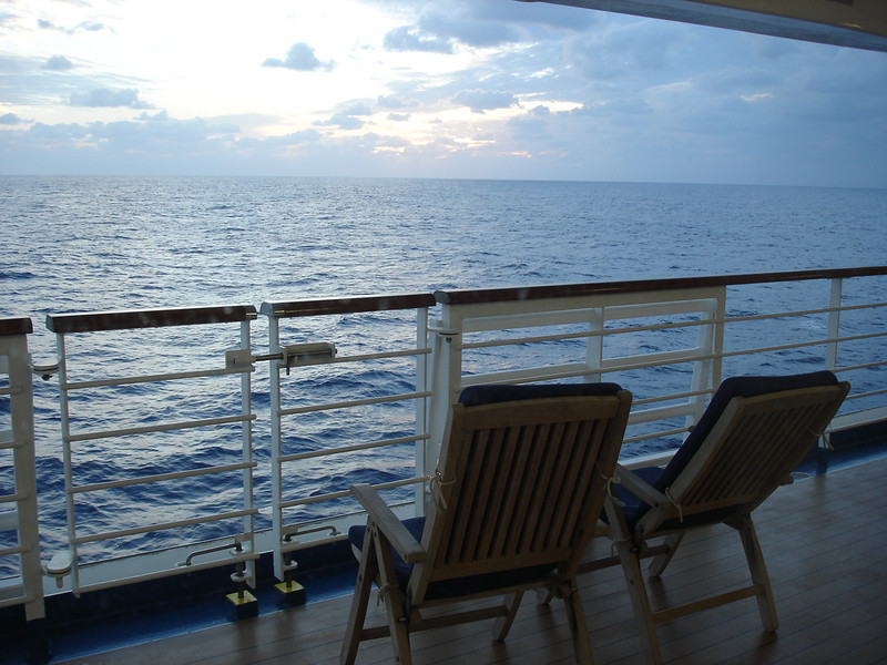 Sunset on promenade deck