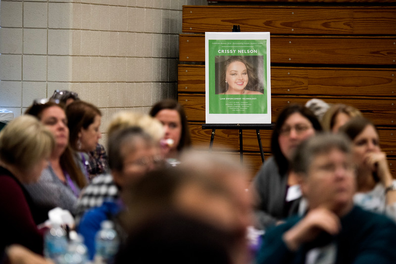 """LANCASTER, OHIO   MARCH 23, 2018: A poster of Crissy Nelson, Outstanding Female Student Leader Award Recipient, sits in the back of the gymnasium during the luncheon during the Celebrate Women Conference 2018, themed """"Recognizing Our Superpowers"""" on March 23, 2018 at Ohio University Lancaster in Lancaster, Ohio.  Ty Wright photo"""