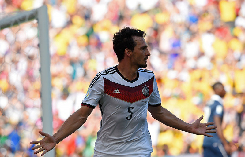 . Germany\'s defender Mats Hummels celebrates after scoring a goal during the quarter-final football match between France and Germany at the Maracana Stadium in Rio de Janeiro during the 2014 FIFA World Cup on July 4, 2014. (FRANCK FIFE/AFP/Getty Images)