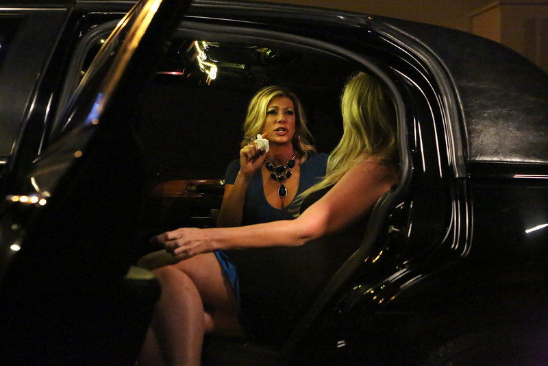 """. REAL HOUSEWIVES OF ORANGE COUNTY -- \""""All Housewives Party At Tamra\'s\"""" -- Pictured: (l-r) Alexis Bellino, Vicky Gunvalson -- (Photo by: Evans Vestal Ward/Bravo)"""