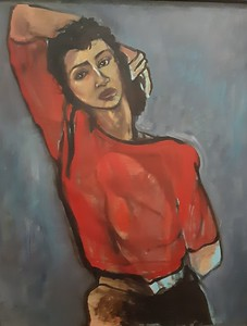 """""""The red sweater"""" (oil on canvas) by Charlene Avery"""