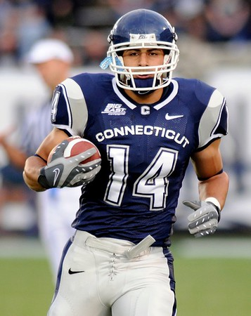 8/28/2008 Mike Orazzi | The Bristol Press Uconn's D.J. Hernandez before the start of a 35-3 win over Hofstra at Rentschler Field on Thursday, August 28, 2008.