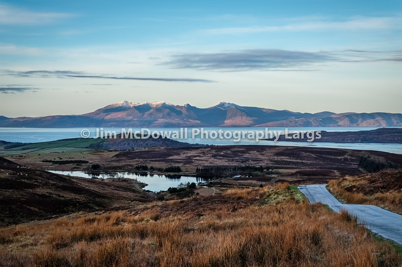 Arran from a Wintery Dalry Moor Just as the Sun was Comming Up Behind thre Camera