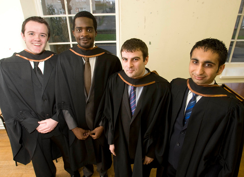 "4/1/2012. News. Waterford Institute of Technology (WIT), conferring ceremony. From Left, Kevin Cullinane, Stradbally, Co Waterford, Oluwatomisin Adefule, Nigeria, Michael Kelly, Dublin, Sukhjeet Singh Joshan, India who graduated in Bachelor of Arts (Honors) in Accounting. Photo Patrick Browne  Upbeat mood at WIT's conferring ceremonies  An optimistic note has been signaled by Mr Tony McFeely, Acting President of Waterford Institute of Technology (WIT), at the first of 11 conferring ceremonies across three days during which 2,652 students were conferred with academic degrees up to doctorate level.  In his conferring address, Mr McFeely said: ""We cannot ignore the dark economic clouds that have surrounded the country for the past few years. Job opportunities are not as readily available as they once were. However, your academic achievements should instill a sense of self-confidence. I would encourage you to remain positive and optimistic despite the general gloom. These times will pass; they always do.""  ""We Irish are a resilient people; you are the potential leaders of the future so it's incumbent on you to remain strong and positive,"" continued Mr McFeely. He urged today's graduates to remember the words of Apple founder Steve Jobs at a Stanford graduation in 2005: ""Your time is limited, so don't waste it living someone else's life. Don't be trapped by dogma, which is living with the results of other people's thinking. Don't let the noise of others' opinions drown out your own inner voice. And most important, have the courage to follow your heart and intuition.""  WIT's Chairman, Dr Donie Ormonde, continued the positive theme in his remarks: ""In the modern economy skills and competencies are the tradable commodities that enhance your life experiences and enhance the creative edge of economic and social development. Ireland's capacity to bounce back is directly related to the education and skills infrastructure that it has built. Ireland is an international leader in educational attainment and it is this that will provide the stepping stone to recovery.""  Thirteen PhD students were awarded doctorates and six new programmes were conferred for the first time, including the Bachelor of Arts (Honours), Bachelor of Science (Honours) in Airline Transport Operations, Bachelor of Science in Food Science with Business and Higher Certificates in Arts in Hospitality Studies, Business in Tourism and Culinary Arts.  Of the total 2,652 graduates being conferred with academic awards up to doctorate level, 1,044 are from Waterford City and County. However, WIT graduates hail from all 26 counties of Ireland with Wexford (338), Kilkenny (282), Tipperary (217), and Cork (102) being the next most frequent home addresses.  The strength of WIT's academic portfolio and research capacity was reflected in the President's closing remarks when he urged all graduates to give their support to the Institute in achieving its ultimate goal – becoming the Technological University of the South East, a goal to which the current Government has stated its commitment.   Ends"