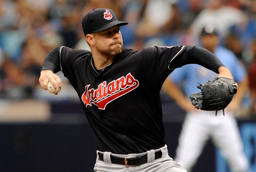 . Cleveland Indians starter Corey Kluber pitches against the Tampa Bay Rays during the first inning of a baseball game, Sunday, Aug. 13, 2017, in St. Petersburg, Fla. (AP Photo/Steve Nesius)