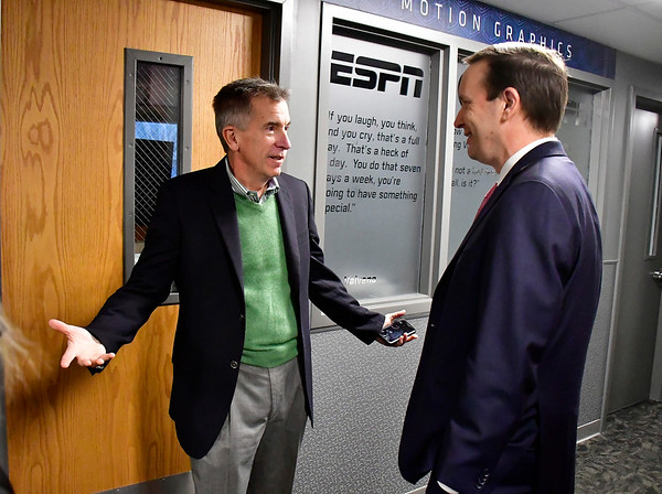 11/30/2018 Mike Orazzi | Staff ESPN Vice President of Communications Mike Soltys talks with U.S. Senator Chris Murphy during a tour and visit at ESPN headquarters in Bristol Friday.