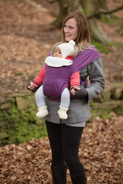 Izmi_Baby_Carrier_Cotton_Midnight_Purple_Lifestyle_Front_Carry_Mum_In_Woods.jpg