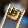 4.57ct Fancy Dark Greenish Yellow Brown Asscher Cut Diamond GIA 35