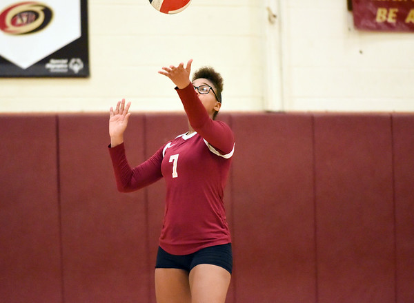 10/10/18 Wesley Bunnell | Staff New Britain volleyball vs Platt on Wednesday evening at New Britain High School. Anyerina Lugo (7).