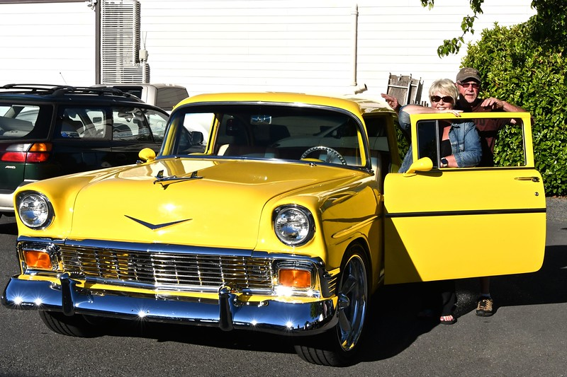 Jeannie and Dave Dorris pose next to their 1956 Chevrolet at the Fortuna AutoXpo. José Quezada — For the Times-Standard