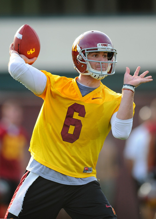 . USC\'s QB Cody Kessler passes at spring practice, Tuesday, March 11, 2014, at USC. (Photo by Michael Owen Baker/L.A. Daily News)