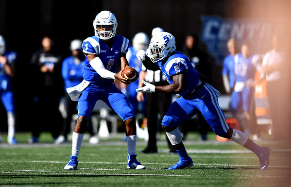 10/26/2019 Mike Orazzi | StaffrCCSU's Danley Exilhomme (5) and Aaron Winchester (1) during Saturday's football game with Long Island University in New Britain.